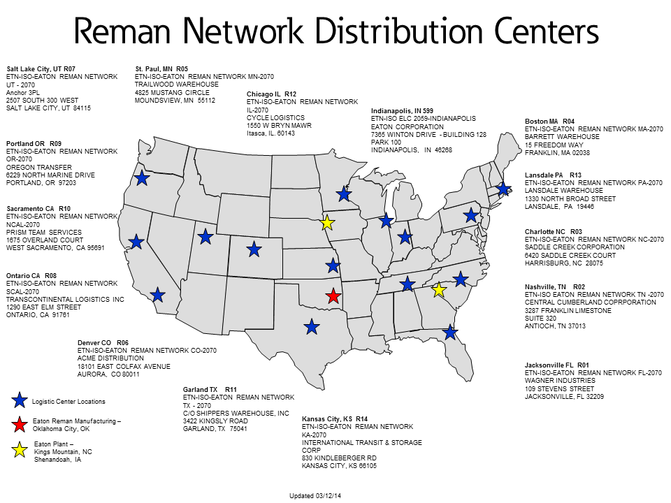 Reman Network Distribution Centers
